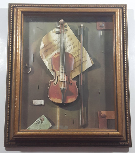 Vintage William Harnett The Old Violin Decoupage Wood Framed 3D Shadow Box