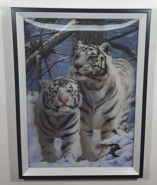 "1990s Two White Tigers in Winter Scene 3D Holographic Stereoscopic 10 3/4"" x 14 3/4"" Wall Print Picture"
