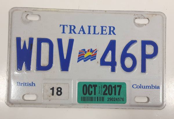 Oct. 2017 British Columbia White with Blue Letters Metal Trailer License Plate Tag WDV 46P