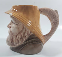 Vintage Toby Style Fisherman Face Ceramic Pottery Stein Mug Cup with Fish Handle