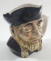 "Vintage Toby Style Face Head Hand Painted Ceramic Pottery Figurine Mug Cup 3 1/2"" Tall Made in Japan"