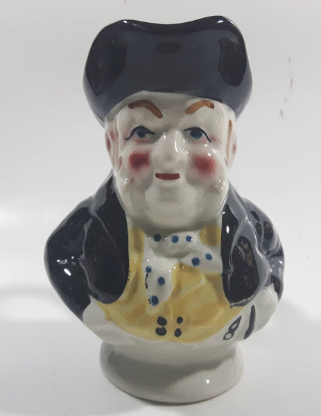 "Vintage J Bull Toby Style Face Head Hand Painted Ceramic Pottery Figurine Jug Pitcher 5"" Tall"