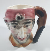 "Vintage Toby Style Pirate Face Ceramic Pottery Stein Mug Cup with Pistol Gun Handle 5"" Tall"