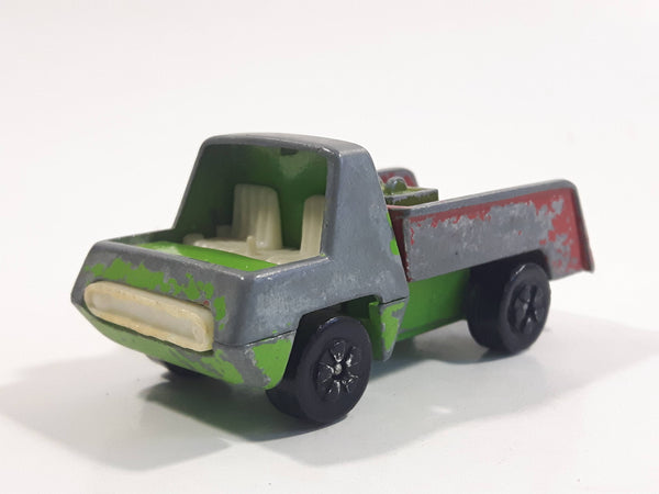 Vintage PlayArt Tow Truck Green and Red Die Cast Toy Car Vehicle Made in Hong Kong