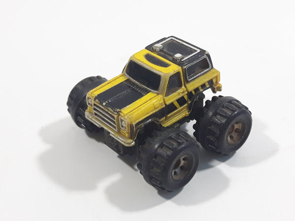 1989 Galoob Micro Machines Chevy Blazer Monster Truck Yellow Mini Die Cast Toy Car Vehicle