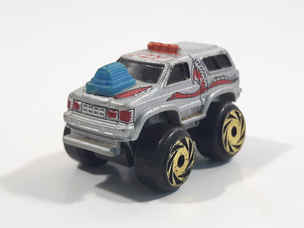 1987 Road Champs Fly Truck Grey Micro Mini Die Cast Toy Car Vehicle