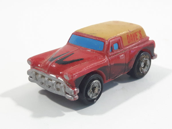 1987 Galoob Micro Machines '53 Chevy Delivery Red and Yellow Micro Mini Die Cast Toy Car Vehicle