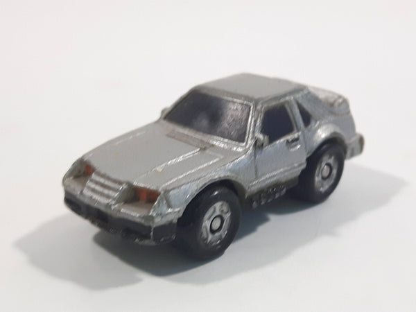 1987 Galoob Micro Machines 1980s Ford Mustang Silver Grey Micro Mini Die Cast Toy Car Vehicle