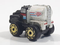 1987 Road Champs Oil Tanker Fuel Truck Black White Micro Mini Die Cast Toy Car Vehicle