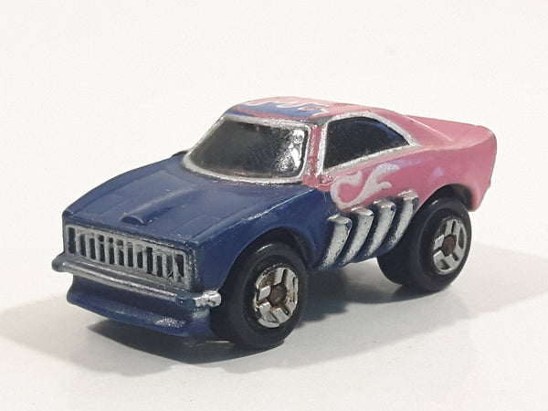 1987 Galoob Micro Machines Dodge Charger Blue Pink Micro Mini Die Cast Toy Car Vehicle