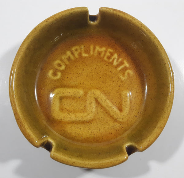 Vintage Compliments CN Rail Tan Brown Stoneware Pottery Ash Tray