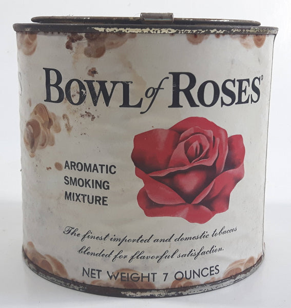 Vintage Bowl of Roses Pipe Tobacco Aromatic Smoking Mixture Tin Metal Can