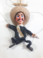Vintage Mexican Mariachi Style Marionette Puppet with Sombrero and Gun with Wood Handle 14-15""