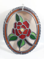 "Vintage Rose Flower 9"" x 12"" Oval Shaped Leaded Stained Glass Window Sun Catcher"