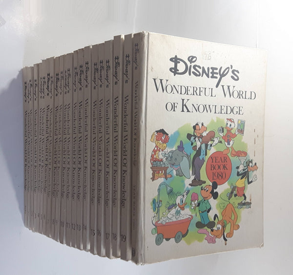 Vintage 1973 - Disney's Wonderful World of Knowledge Full Set of 20 Hard Cover Books + 1 1980 Year Book