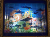 "Coral Reef with Swimming Dolphins, Sharks, Turtles Light Up Aquarium Animated Rotating Motion Lamp Wall Hanging 13"" x 15"""