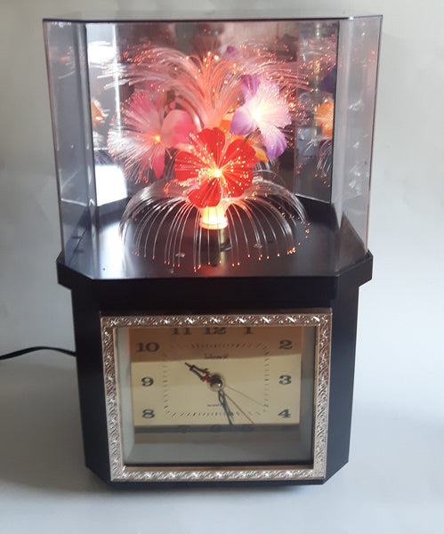 Telesonic Fiber Optic Color Changing Flower Motion Lamp Light Clock Combination
