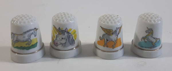 Unicorn Pegasus White Porcelain Sewing Thimbles Set of 4