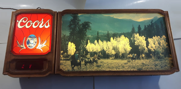 "Rare Full Version Vintage 1981 Adolph Coors Beer Western Cowboy Themed Print Attachment Light Up Electric Large 38"" Wide Wall Sign"