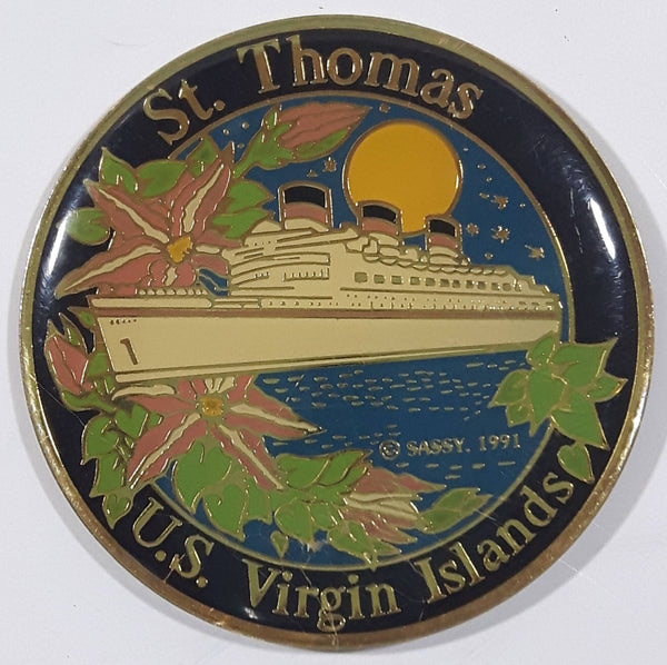 "St. Thomas U.S. Virgin Islands Cruise Ship Themed 2"" Round Enamel Metal Fridge Magnet"