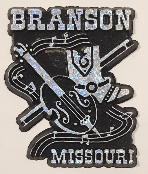 "Branson, Missouri Country Music Guitar Cowboy Boot and Music Note Themed 2"" x 2 1/2"" Black Rubber Fridge Magnet"