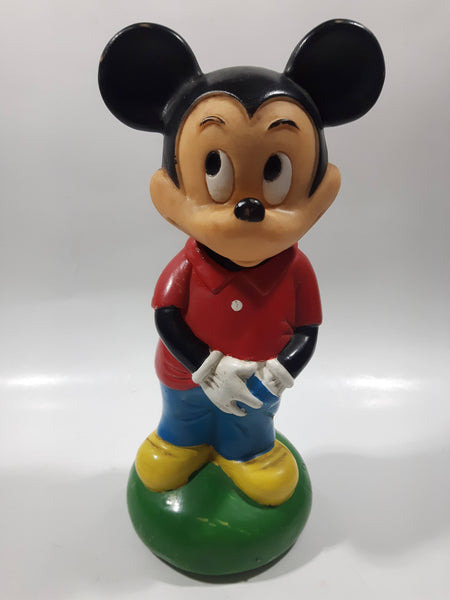 "Vintage Walt Disney Productions Mickey Mouse 8"" Cartoon Character Hard Vinyl Coin Bank"