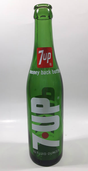 Vintage 7up Money Back Bottle 10 Fluid Ounces Green Glass Bottle 3589