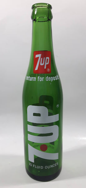 Vintage 7up Money Back Bottle 10 Fluid Ounces Green Glass Bottle 3589 - 16