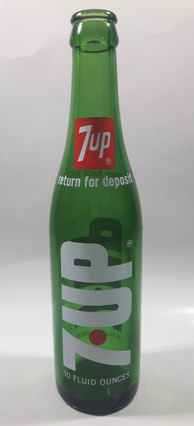 Vintage 7up Money Back Bottle 10 Fluid Ounces Green Glass Bottle 3589 - 2