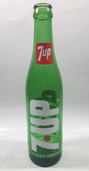 Vintage 7up 10 Fluid Ounces Green Glass Bottle 3589 - 13
