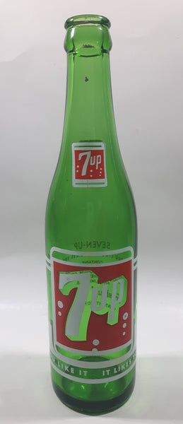 "Vintage 7up ""You Like It"" ""It Likes You"" Green Glass Soda Pop Bottle - 3"