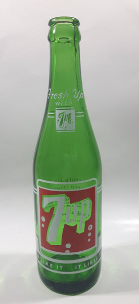 "Vintage 7up ""Fresh Up"" with 7up ""You Like It"" ""It Likes You"" Green Glass Soda Pop Bottle 2133 - 2"