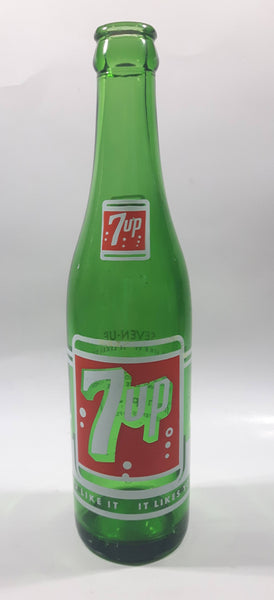 "Vintage 7up ""You Like It"" ""It Likes You"" Green Glass Soda Pop Bottle - 3589 - 14"