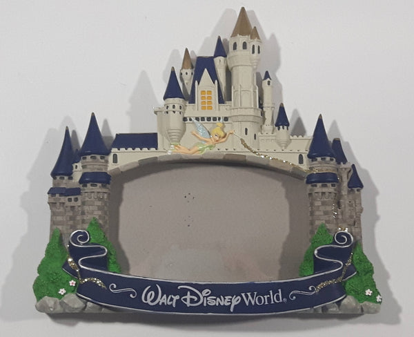 Authentic Original Disney Parks Walt Disney World Tinkerbell on Disney Castle 3D Resin Picture Photo Frame