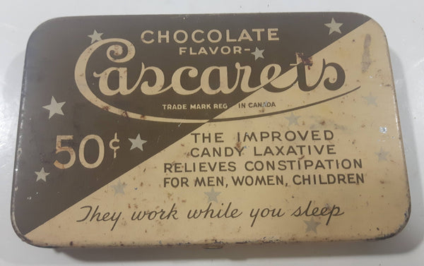 Vintage Cascarets Chocolate Flavor Candy Laxative 36 Count Tin Metal Hinged Container - Sterling Products Windsor, Ontario, Canada