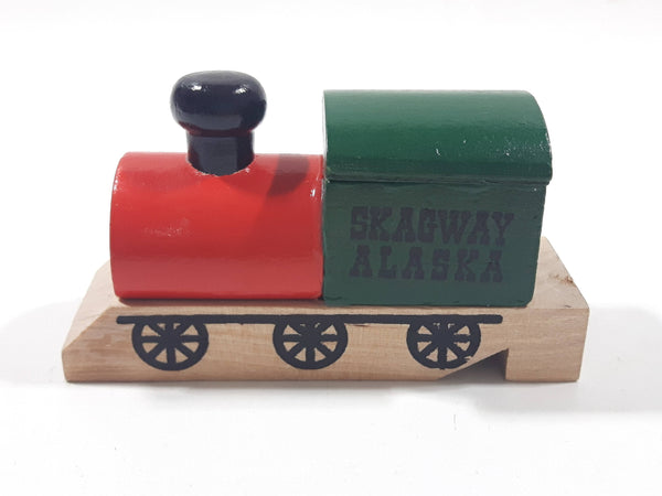 "Skagway Alaska Red Green Black Wood Train Shaped Whistle 3 1/2"" Long"