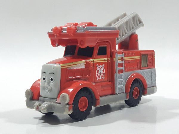 "2010 Mattel Thomas & Friends Flynn Ladder Fire Truck Red Orange 4 1/8"" Long Magnetic Die Cast Toy Vehicle V7639"