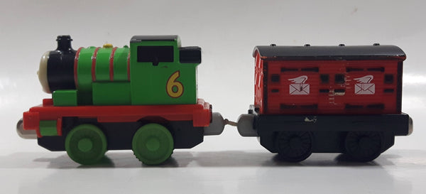 "2011 Mattel Thomas & Friends Green #6 Percy Pulling Red Mail Car 5 1/2"" Long Magnetic Die Cast Toy Vehicle W6269"