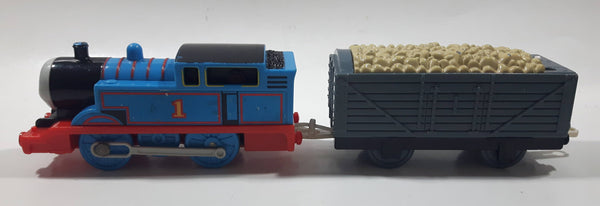 "2009 Mattel Thomas & Friends Trackmaster Blue #1 Thomas The Tank Engine Pulling Grey Gravel Car 9"" Long Plastic Toy Vehicle R9626"