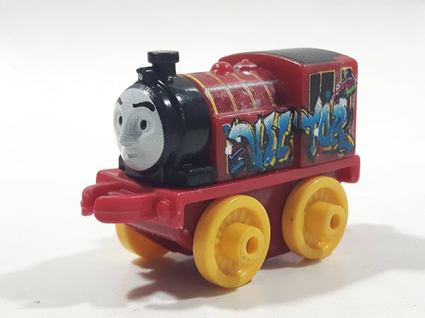 "2014 Thomas & Friends Minis Victor Graffiti Dark Red 2"" Long Plastic Die Cast Toy Vehicle CGM30"