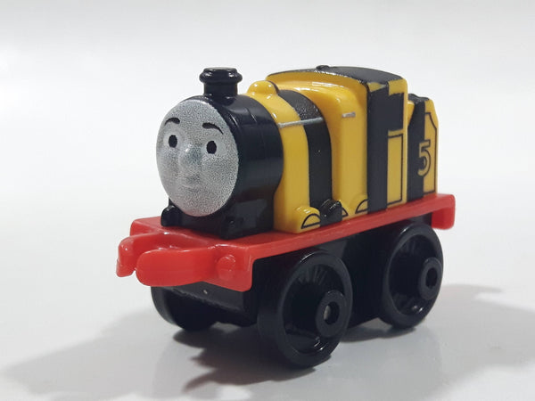 "2014 Thomas & Friends Minis #5 James Yellow and Black Striped 2"" Long Plastic Die Cast Toy Vehicle CGM30"