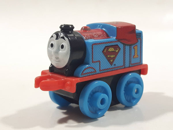 "2014 Thomas & Friends Minis DC Comics #1 Superman Thomas Blue 2"" Long Plastic Die Cast Toy Vehicle CGM30"