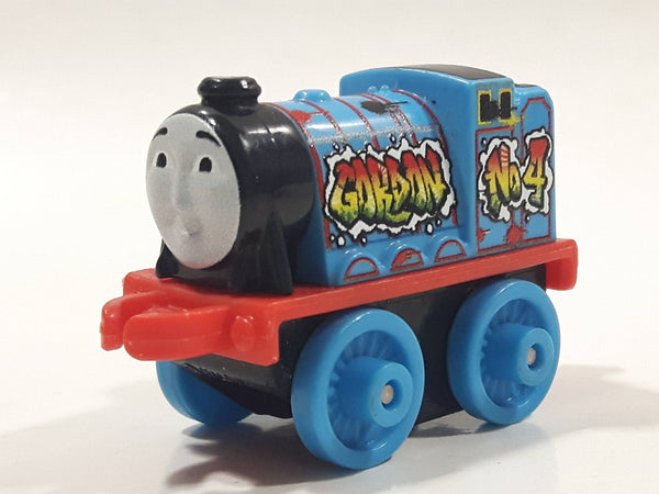"2014 Thomas & Friends Minis #4 Gordon Graffiti Blue 2"" Long Plastic Die Cast Toy Vehicle CGM30"