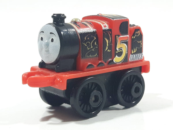 "2014 Thomas & Friends Minis #5 James Lion Racing Red Black 2"" Long Plastic Die Cast Toy Vehicle CGM30"