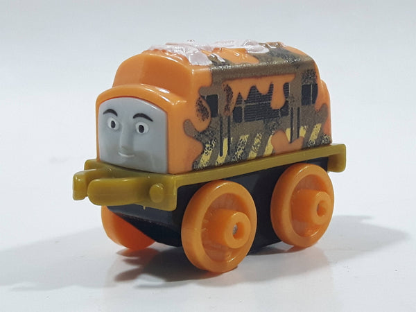 "2014 Thomas & Friends Minis D-10 Diesel 10 Dark Yellow and Brown 2"" Long Plastic Die Cast Toy Vehicle CGM30"