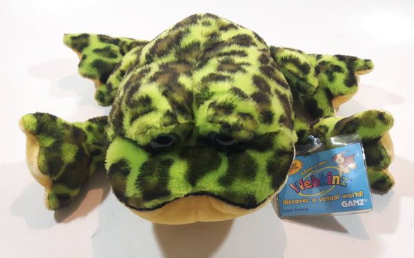"Ganz Webkinz Bull Frog Green 8"" Long Stuffed Animal Plush Toy with Tags"