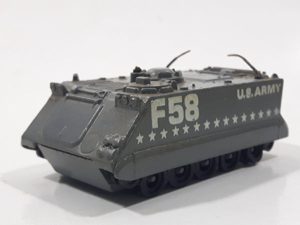 Rare Vintage PlayArt Fast Wheel Armoured Personel Carrier U.S. Army F58 Grey Die Cast Toy Car Vehicle Missing the Gun