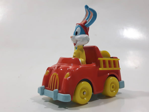 1990 Playskool Warner Bros. Bugs Bunny Fire Truck Red and Yellow Die Cast Toy Character Car Vehicle