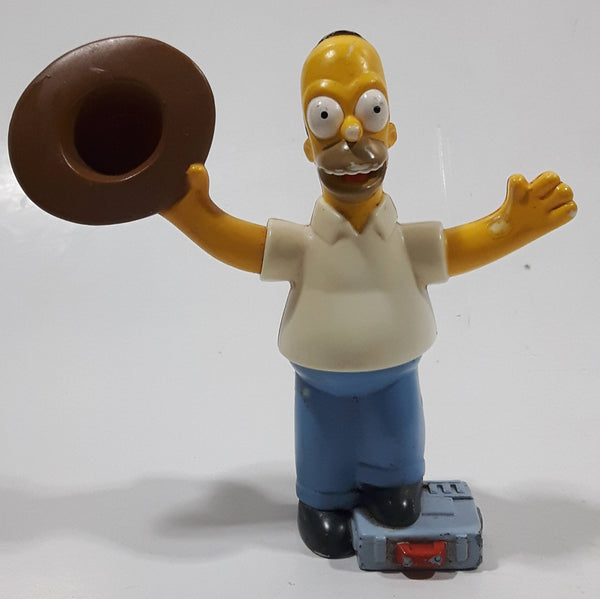 "2007 Burger King The Simpsons Movie Homer Simpson Holding Cowboy Hat 3 3/4"" Tall Talking Toy Figure"