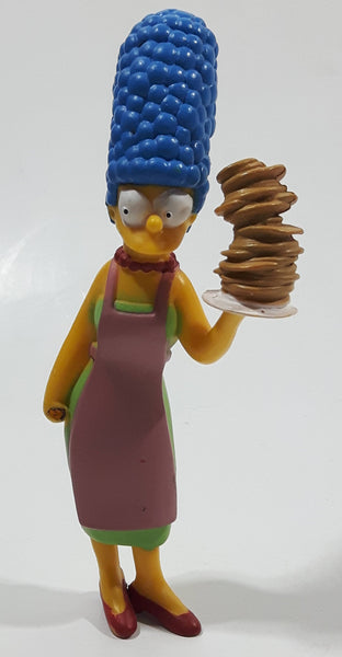 "2007 Fox Matt Groening's The Simpsons Marge Simpson Holding Large Stick of Pancakes 4 1/2"" Tall Toy Cartoon Character Figure - Missing Syrup"